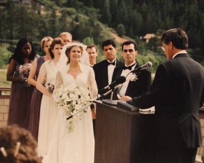 the wedding party - Marla, Mary, Cheryl, Parrish, Peter, Mahmood; Dr. Watts gave talk